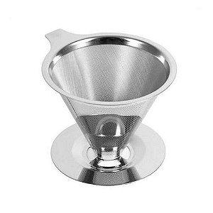 Coador Inox 4 Xicaras Suporte Filtro para Café Permanente Reutilizavel Ecologico 6793 Ke Home