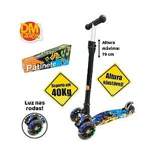 Patinete Flash Radical Trinete 3 Rodas Infantil Colorido Luzes Dobrável DM Toys DMR5360