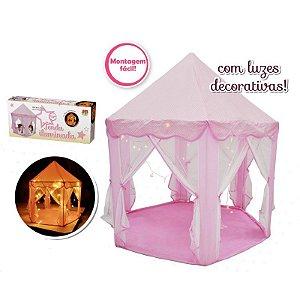Tenda Iluminada Infantil Rosa Barraca Toca Grande com Luzes Decorativas