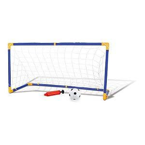 Trave e Bola Infantil Chute a Gol Kit com Rede Bomba Futebol DM Toys