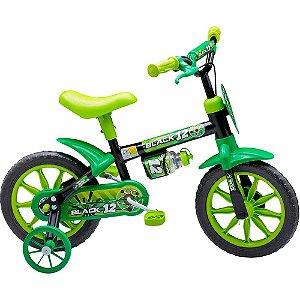 Bicicleta Infantil Masculina Preta e Verde Menino Black Aro 12 Nathor