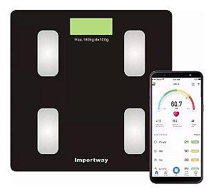 Balança Digital Bioimpedância Com Bluetooth Aplicativo Peso Corporal Gordura 180kg IWBDBIO001APP