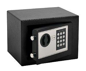 Cofre de Segurança Digital Eletrônico com Senha e Chave de Aço 23x17cm Importway IWCFS-002