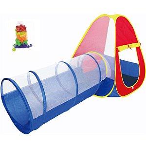 Barraca Infantil Cabana Toca Tunel 2 em 1 Tipo Piscina com 50 Bolinhas Bebê Crianças Importway BW065