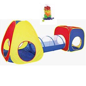 Barraca Infantil Cabana Toca Tenda Tunel 3 em 1 Tipo Piscina 50 Bolinhas Bebê Importway BW067