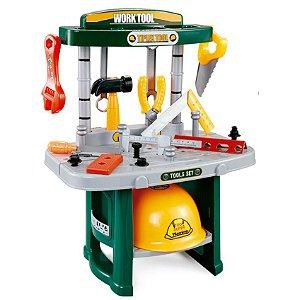 Oficina Infantil Brinquedo Kit Ferramentas Bancada Trabalho Completa Acessórios 54 Peças BW033