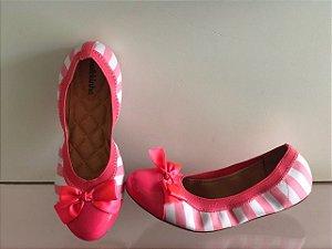 Sapatilha Molekinha Listra Pink E Branca