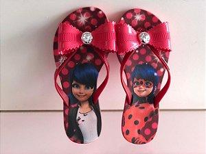 Chinelo Rasteiro Ladybug Grendene Kids - Rosa/Vermelho escuro