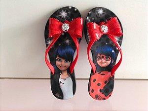 Chinelo Rasteiro Ladybug Grendene Kids - Preto/Vermelho