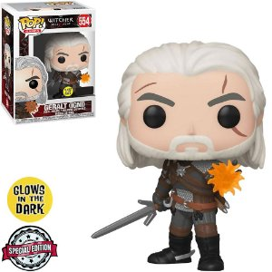 Funko Pop Games: The Witcher 3 Wild Hunt - Geralt (IGNI) *Glow* *Excl* #554