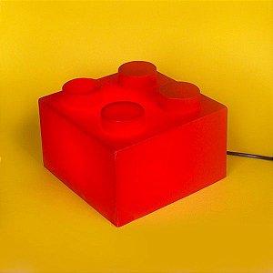 Luminária - Bloco Lego Vermelho