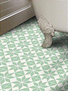 Adesivo piso ladrilho estrela verde antiderrapante lavável