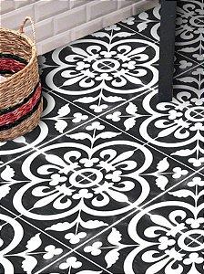 Adesivo para piso preto e branco