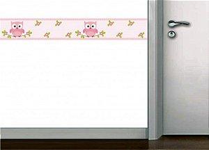 Faixa de parede corujinhas rosa