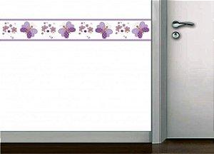 Faixa decorativa de parede borboletas lilas