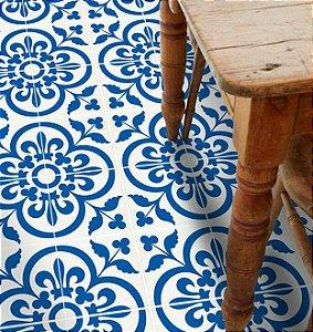 Adesivo para piso azul e branco