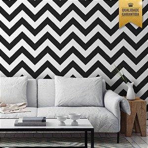 Papel de parede chevron preto e branco