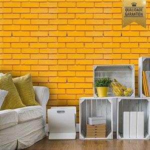 Papel de parede tijolinho amarelo