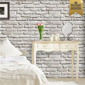 Papel de parede tijolinho rústico branco