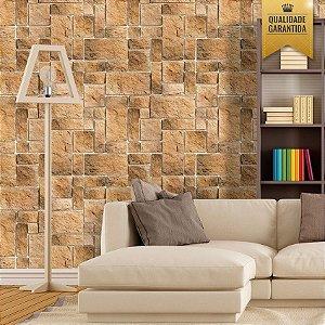 Papel de parede pedra tijolinho