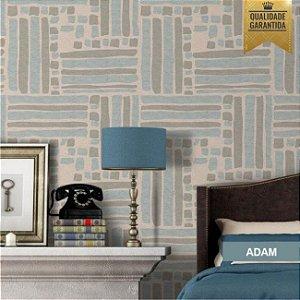 Papel de parede tecido bege e azul