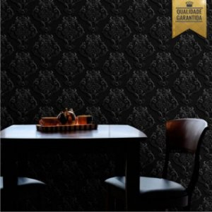 Papel de parede arabesco 3D preto