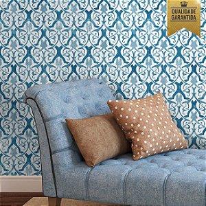 Papel de parede arabesco azul