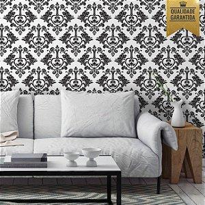 Papel de parede damasco preto e branco