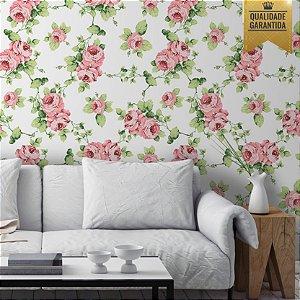 Papel de parede floral rosa