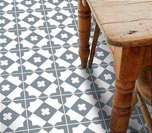 Adesivo para piso cinza e branco