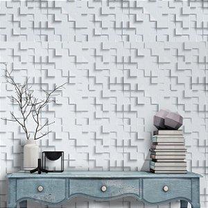 Papel de parede 3d branco mosaico