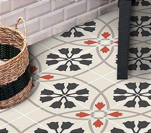 Adesivo para piso floral geométrico