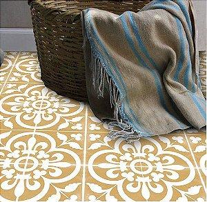 Adesivo piso dourado e branco