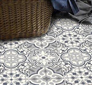 Adesivo piso Patchwork cinza lavável