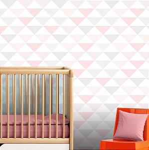 Papel Parede Infantil Menina Rosa Triângulos Autocolante 3Mt