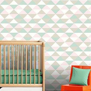 Papel Parede Infantil Menina Bebê Triângulos Autocolante 3Mt