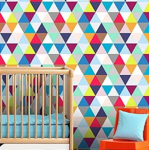 Papel Parede Infantil Unissex Triângulos Autocolante 3Mt
