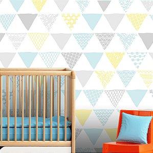 Papel Parede Infantil Menino Bebê Triângulos Autocolante 3Mt