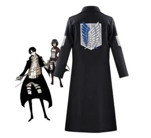 COSPLAY SOBRETUDO CASACO LEVI/MIKASA ACKERMAN SHINGEKI NO KYOJIN ATTACK ON TITAN