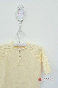 Macacão maternidade trançado amarelo - Tamanho RN