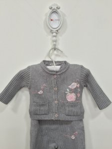 Conjunto maternidade Pierret passarinho cinza - Tamanho RN