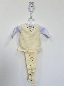 Conjunto maternidade Papoula amarelo com body  - Tamanho RN