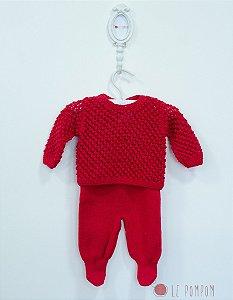 Conjunto maternidade pipoca vermelho - Tamanho RN