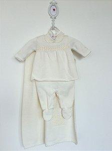 Saída de maternidade Jasmine bordada de pérolas off-white com body - Tamanho RN