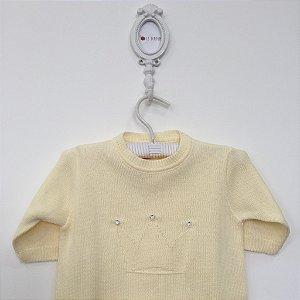 Macacão maternidade coroa com strass amarelo - Tamanho RN