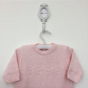 Macacão maternidade relevo lacinho rosa - Tamanho RN