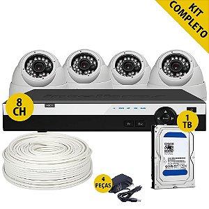 Kit Hdcvi Completo 4 Câmeras Externas Dvr 8 Canais Hd 1 Terabyte e Acessórios