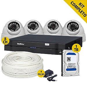 Kit Cftv Hdcvi 4 Câmeras DVR 1008 Intelbras 8 Canais e Todos Acessórios Completo