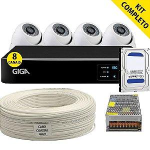 Kit Cftv Completo Ahd Dvr 8 Canais Giga 4 Câmeras HD e Acessórios (DISCO RÍGIDO OPCIONAL)
