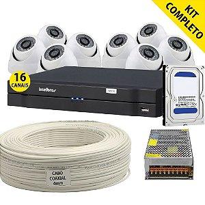 Kit Cftv Completo Dvr Intelbras 16Ch Com 8 Câmeras HDCVI e Acessórios